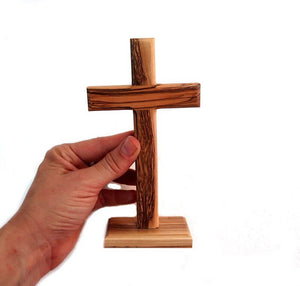 "Cross on base | Olive wood | 17 c""m 6.6 inches"