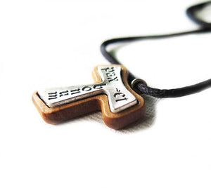 Tau Cross pendant - Olive wood & Metal
