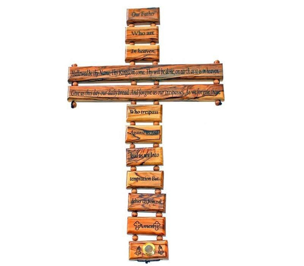 Pater Noster Cross | Olive wood | 14.5 Inches