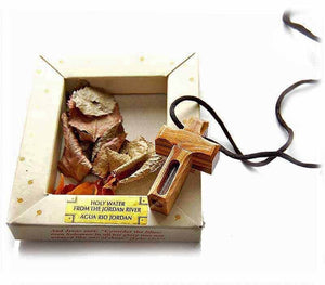Olive wood cross pendant with Jordan River water