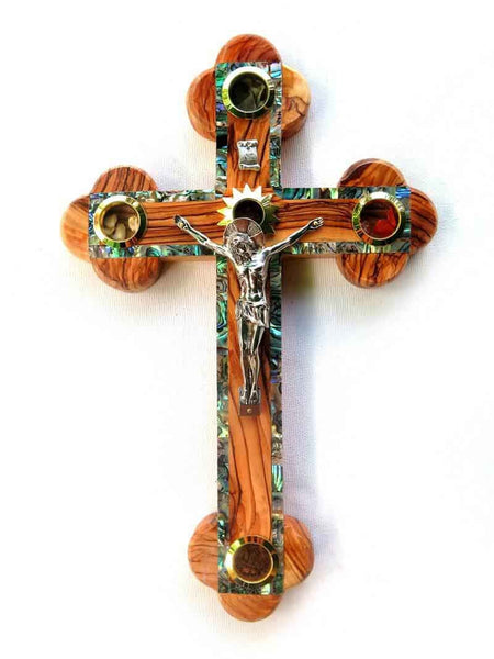 Cross Olive wood with Mother of Pearl