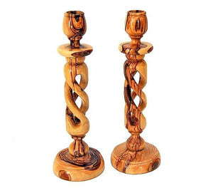 Olive wood braid candlesticks