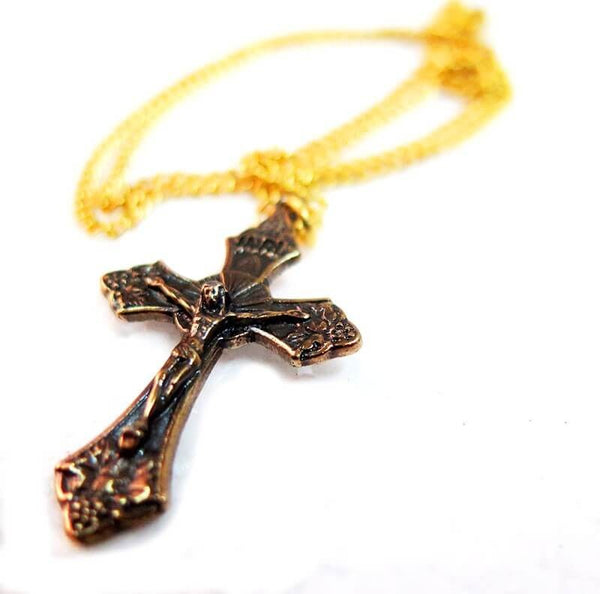 Crucifix pendant 24k Gold plated - Free shipping
