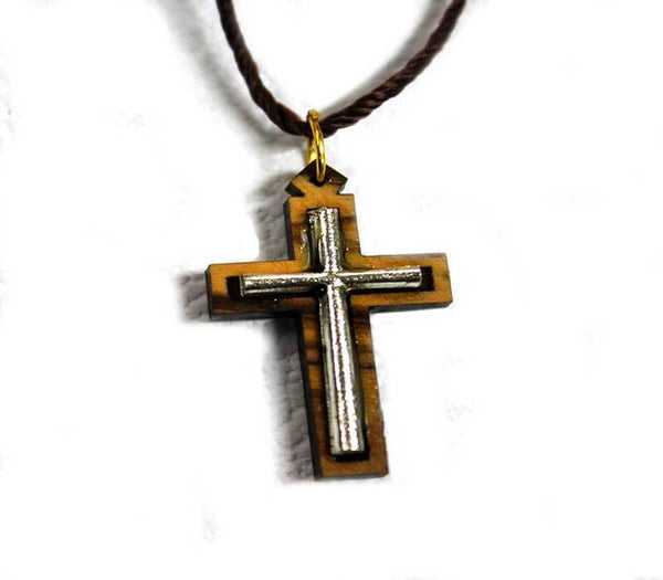 Olive wood & metal cross