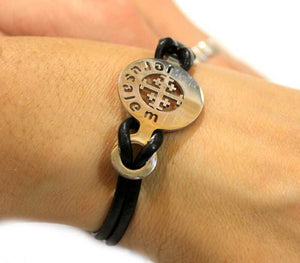 Metal & Leather - Jerusalem Cross Bracelet - Free shipping