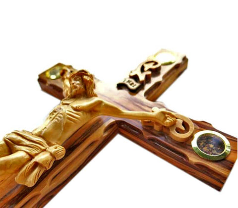 "Special Olive wood Crucifix"" 14 inches"