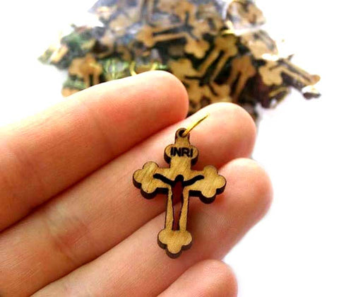 50 PCS Crosses Olive Wood Pendants