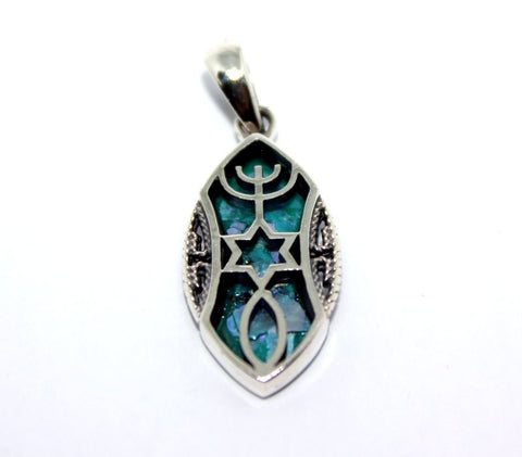 Grafted In |  new - Silver pendant with Roman Glass - Free shipping