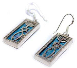 Grafted In | earrings -  Silver pendant with Roman Glass - Free shipping