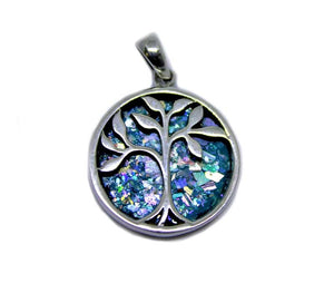 Tree of life | Silver pendant with Roman Glass