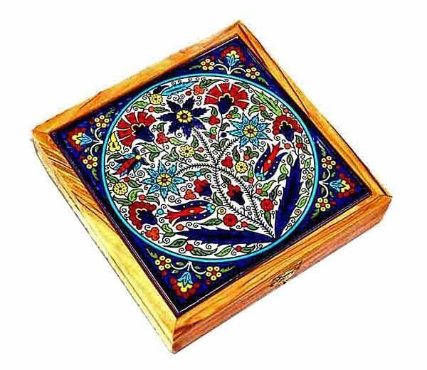 Armenian tile | Olive wood box