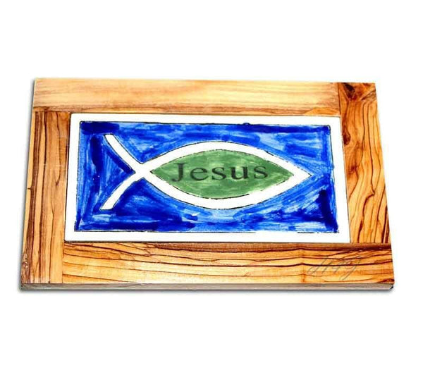 Jesus-Fish Tile | Olive wood frame