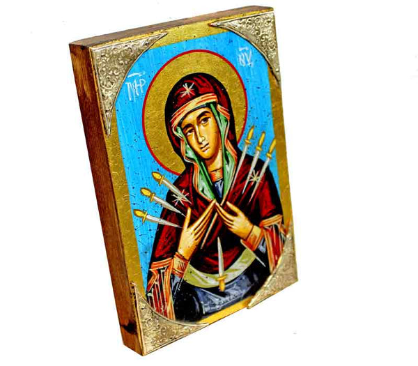 Mother Mary 7 swords Icon | Silver