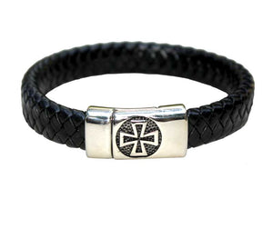 Bracelet stainless steel & Leather - Jerusalem Cross - Free shipping