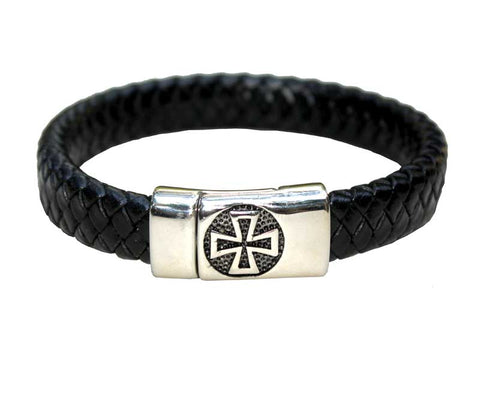 Cross Bracelet stainless steel & Leather