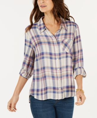 Style & Co Petite Plaid Roll-Tab Shirt-Atmark Trading