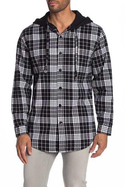 Slate & Stone Beck Hooded Plaid Shirt Jacket-Atmark Trading