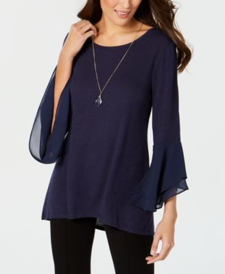 JM Collection Tiered-Sleeve Necklace Top