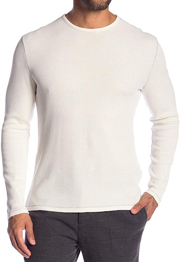 John Varvatos Star Usa Men's Long Sleeve Crew Neck Waffle Knit Shirt