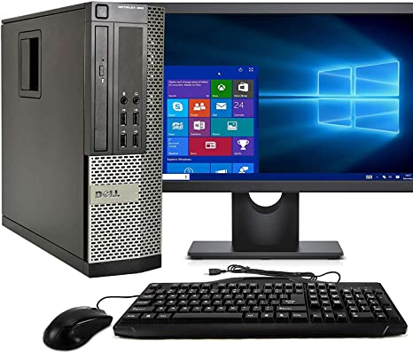 "Dell Optiplex 990 Sff Desktop Bundle Core i7 3.4Ghz with 24"" Monitor Windows 10 Refurbished"