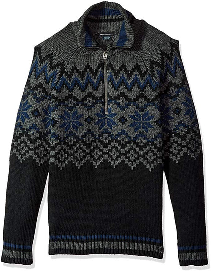 French Connection Men's Ski Fair Isle Half Zip Sweater-Atmark Trading