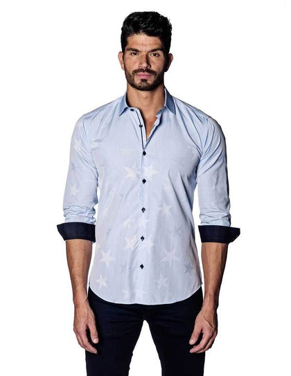 Jared Lang Light Blue Jacquard Stars Shirt-Atmark Trading