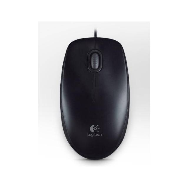 Logitech B100 Wired USB Optical Mouse (Black)-Atmark Trading
