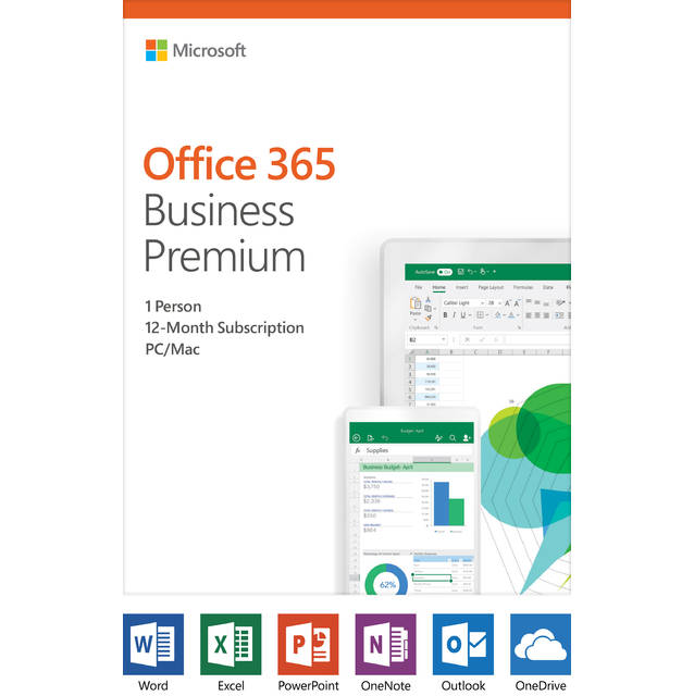 Microsoft Office 365 Business Premium 12 month subscription 1 person PC Mac Key Card-Atmark Trading