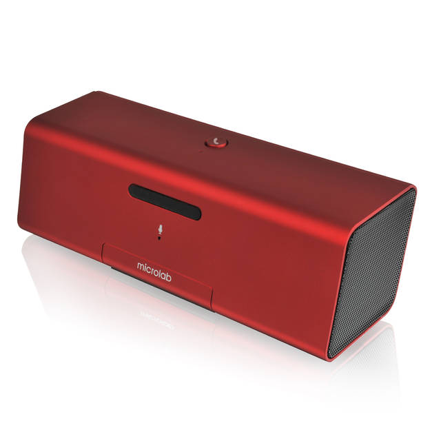 Microlab MD212 Wireless Bluetooth Portable Stereo Speaker w- Microphone & Rechargeable Battery & Retractable Tray (Red)-Atmark Trading