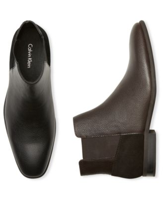 Calvin Klein Men's Larry Ankle Bootie, Black Tumbled Leather-Atmark Trading