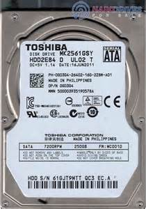 "Toshiba 250GB 7200RPM Sata Laptop 2.5"" Hard Drive"