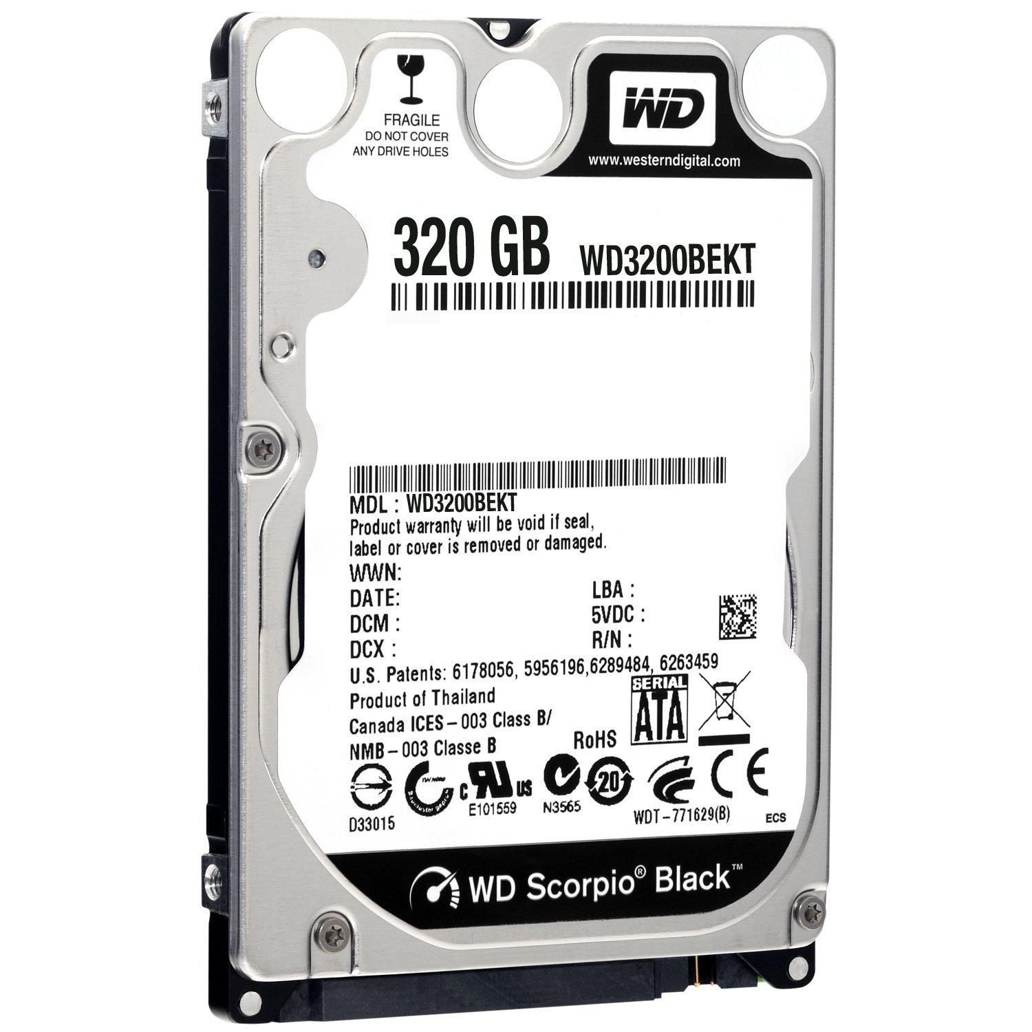"WD Scorpio Black 320GB 7200RPM SATA Laptop 2.5"" Hard Drive"