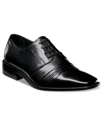 Stacy Adams Mens Shoes Black Raynor Leather Pleated Cap Toe Lace-Ups-Atmark Trading