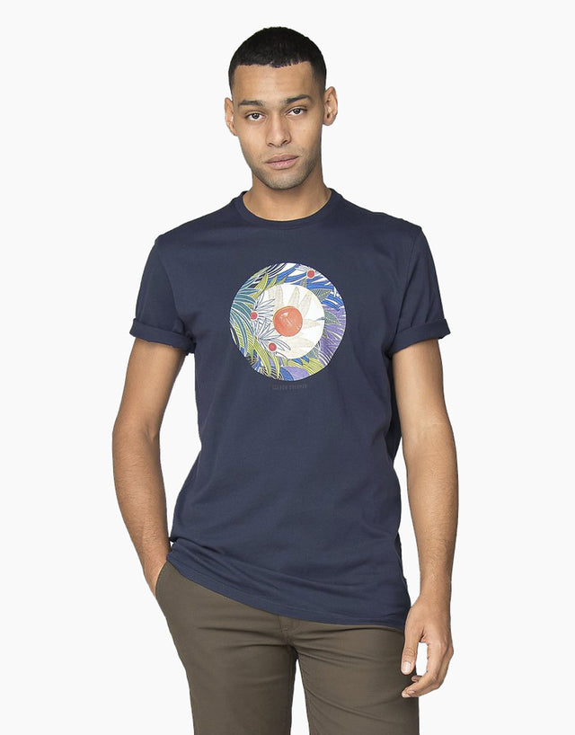 Ben Sherman Navy Tropical Target T-Shirt