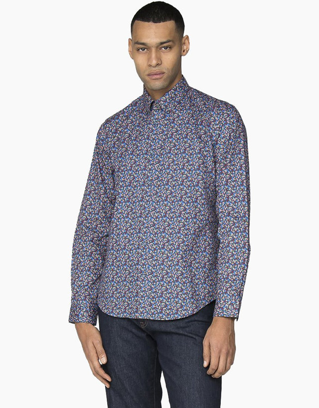 Ben Sherman Blue Micro Tropic Floral Shirt