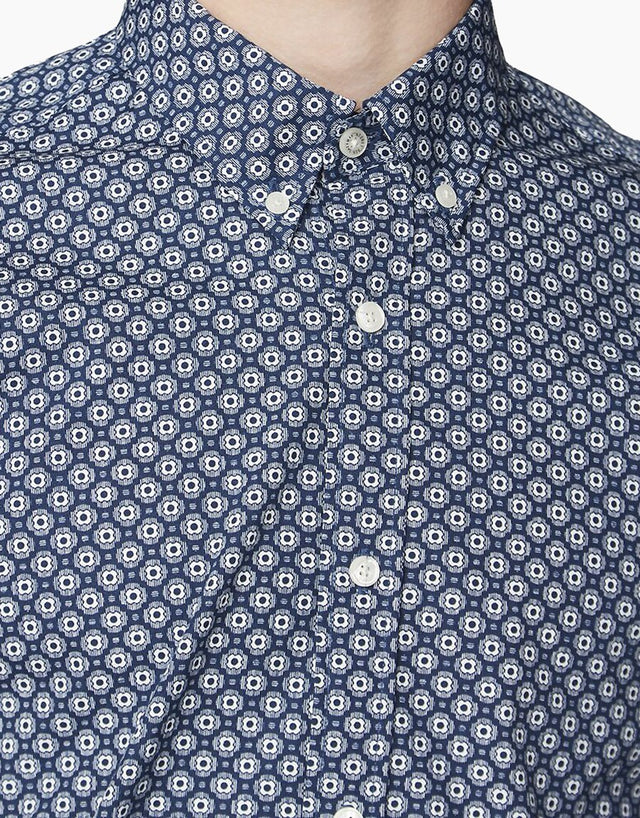 Ben Sherman Dark Blue Retro Geo Print Shirt