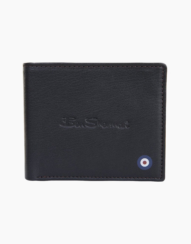 Ben Sherman Navy Hector Leather Wallet with Coin Pocket