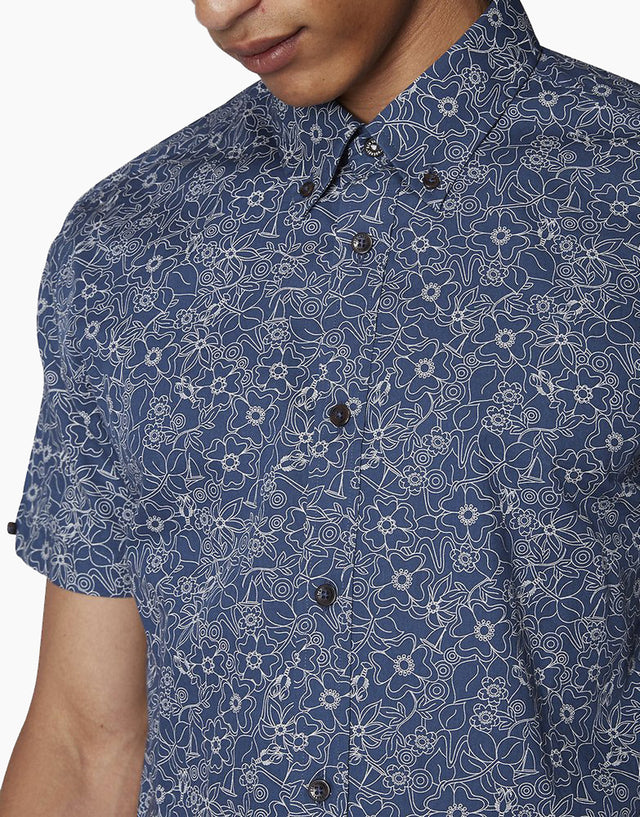 Ben Sherman Navy Retro Floral Short Sleeve Shirt