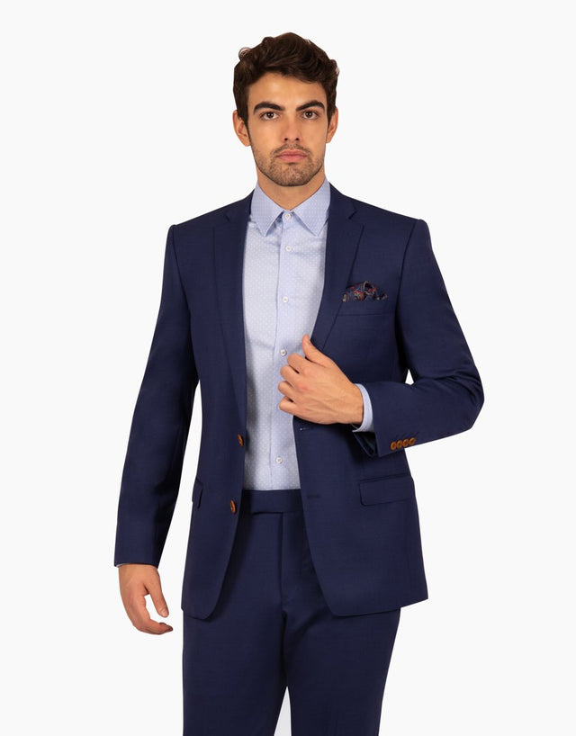 Proto Blue Textured Two Piece Suit