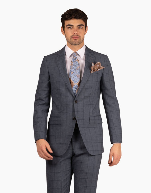 Hawke blue check two piece suit