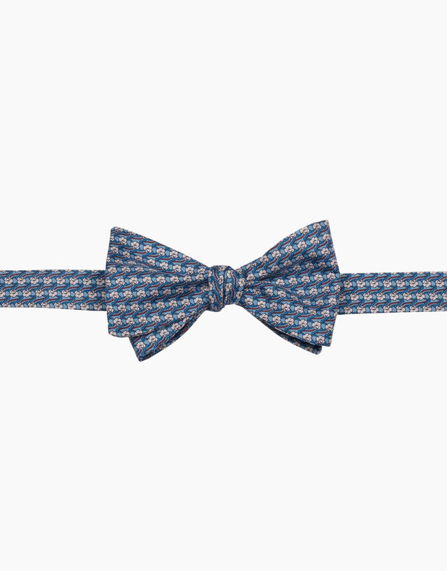 Light Blue Floral Silk Self Tie Bow Tie