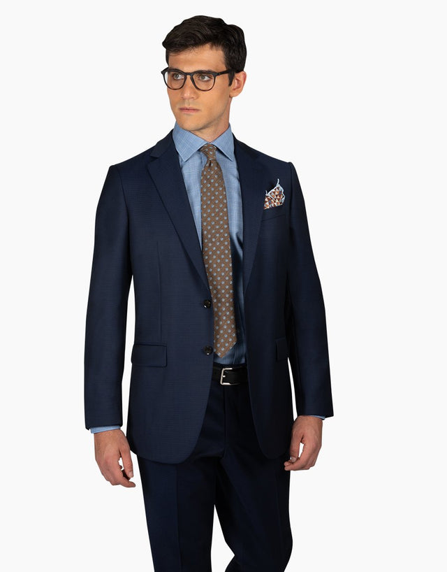 Cooper navy check two trouser suit