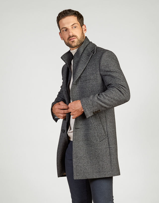 Compton Black & White Check Overcoat
