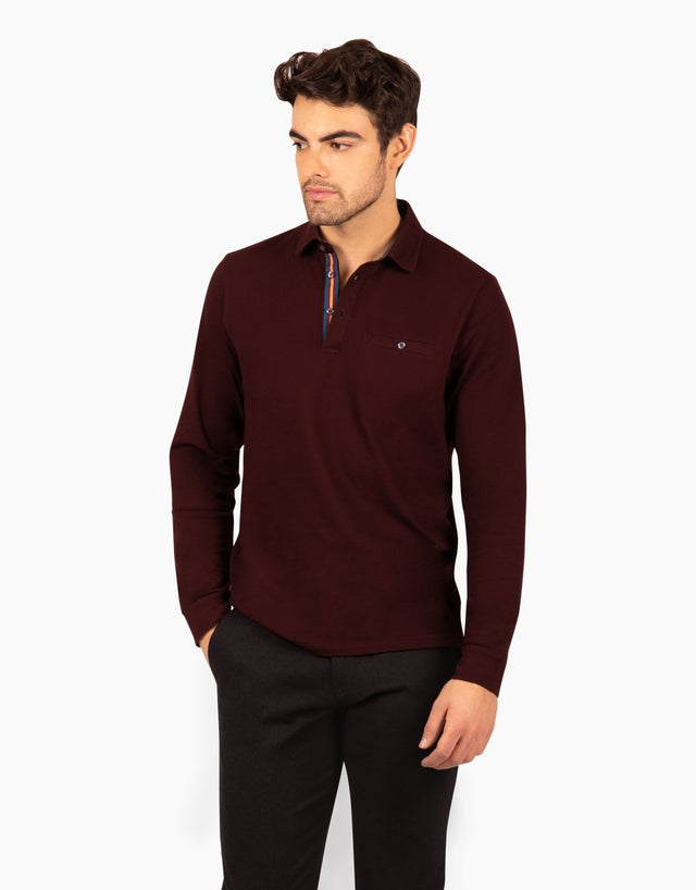 Capri Maroon Long Sleeve Polo Shirt