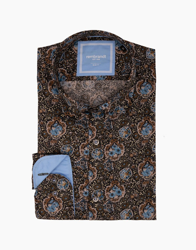 Knight olive floral shirt
