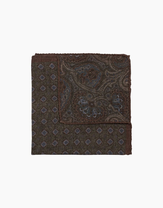 Green paisley & floral reversible silk pocket square
