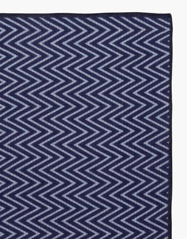 Blue Zig Zag Silk Pocket Square