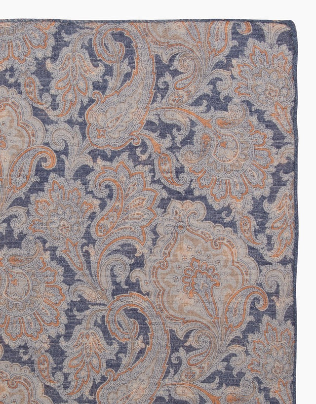 Blue paisley & floral reversible silk pocket square