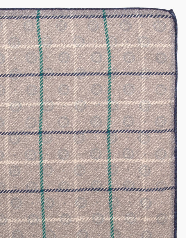 Light Grey Geo Check Silk Pocket Square