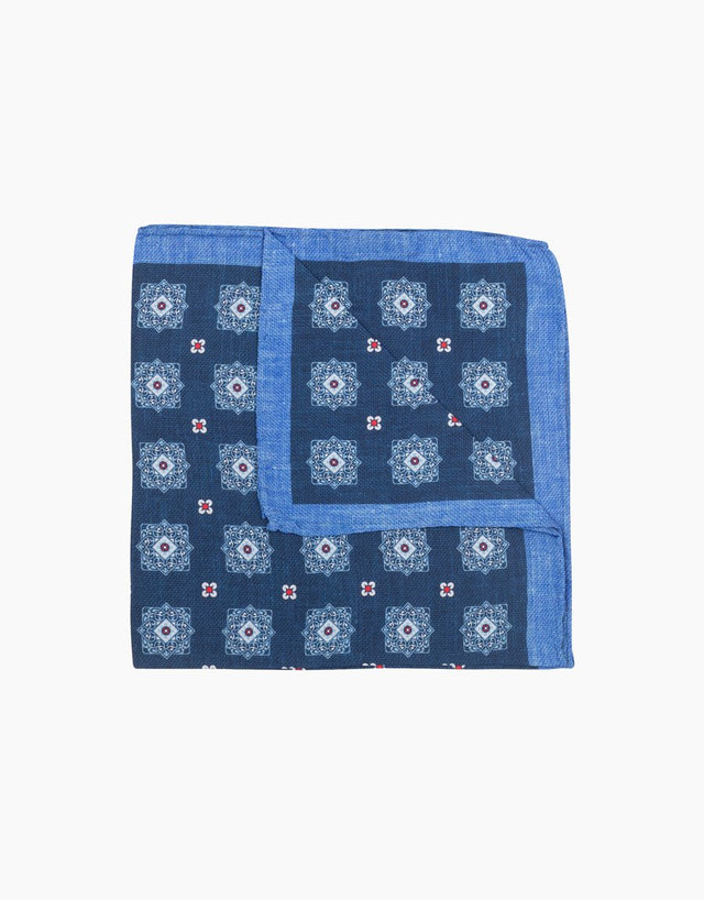 Blue geometric silk pocket square